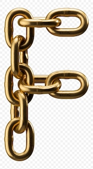 Golden catena alfabeto lettera f isolato su trasparente, 3d'illustrazione