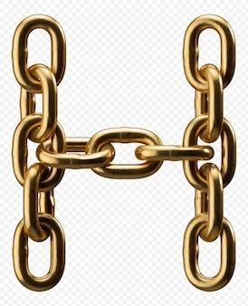Catena d'oro alfabeto lettera h isolato su trasparente, 3d'illustrazione