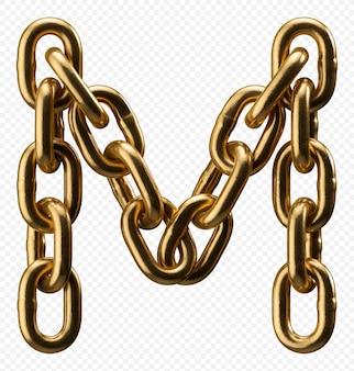 Alfabeto catena d'oro lettera m isolato