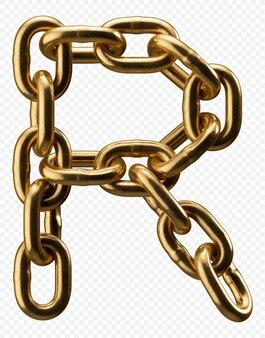 Alfabeto catena d'oro lettera r isolato