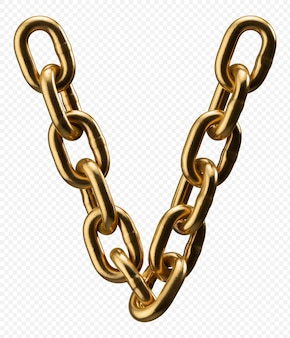 Alfabeto catena d'oro lettera v isolato