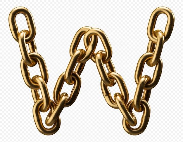 Alfabeto catena d'oro lettera w isolato