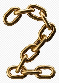 Alfabeto catena d'oro numero 2 isolato su trasparente, 3d'illustrazione