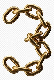 Alfabeto catena d'oro numero 3 isolato su trasparente, 3d'illustrazione