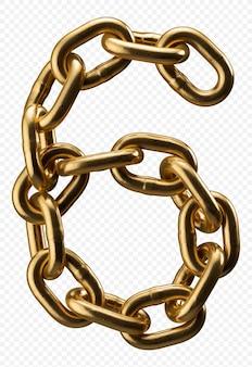 Alfabeto catena d'oro numero 6 isolato su trasparente, 3d'illustrazione