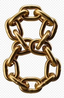 Alfabeto catena d'oro numero 8 isolato su trasparente, 3d'illustrazione