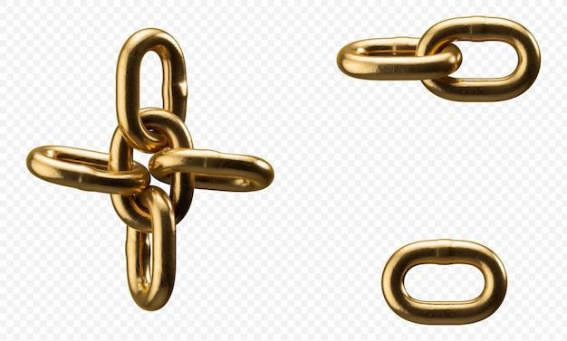 Simboli di alfabeto catena d'oro isolati