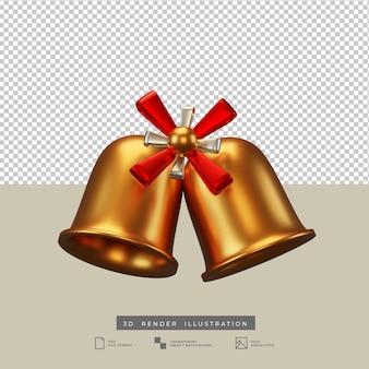 Campana di natale dorata con illustrazione 3d di fiocco rosso e argento