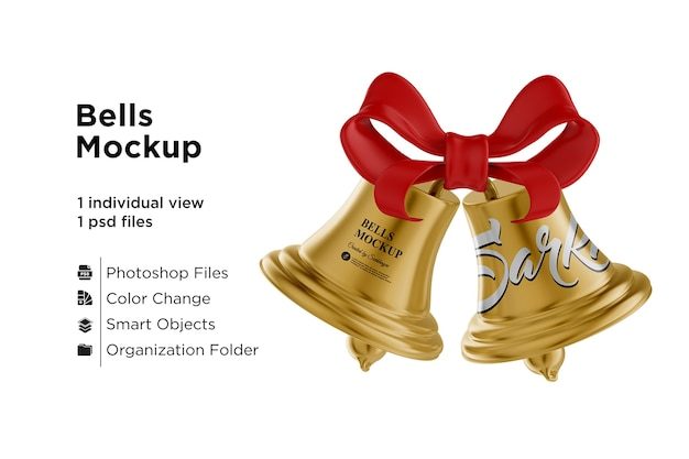 Golden christmas bells mockup