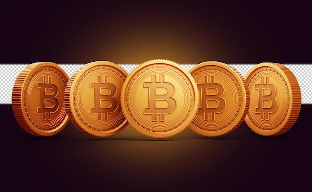 Monete d'oro con criptovaluta simbolo bitcoin rendering 3d