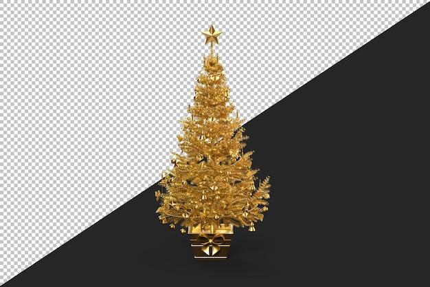 Albero di natale decorato dorato isolato