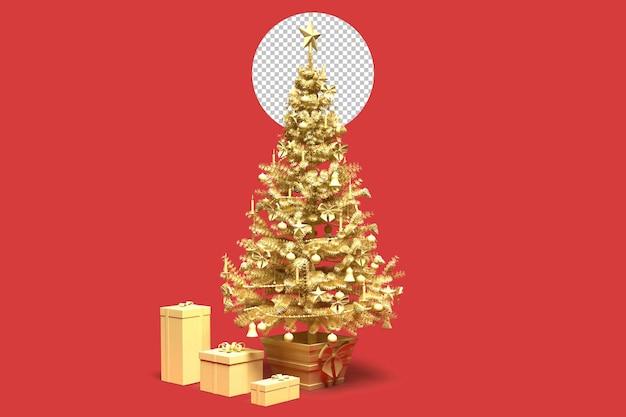 Albero di natale decorato in oro con scatole regalo. rendering 3d