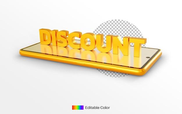 Stile dorato del testo di sconto sul rendering 3d del telefono cellulare