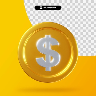 Moneta del dollaro d'oro 3d rendering isolato
