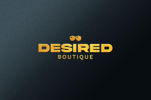 Mockup di logo in rilievo dorato isolato