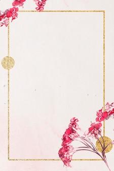 Mockup di cornice dorata con fiori di achillea