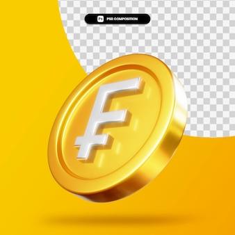 Moneta d'oro del franco 3d rendering isolato