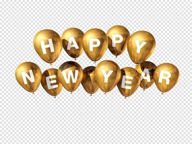 Palloncini dorati di felice anno nuovo isolati