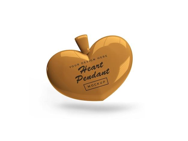 Golden heart ciondolo mockup design isolato