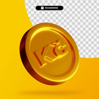Rendering 3d moneta corona d'oro isolata