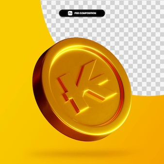 Moneta dorata del kip del laos 3d che rende isolata