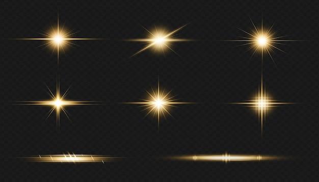 Riflesso della lente dorata raccolta realistica di esplosioni di luce