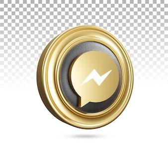 Icona dorata del messaggero nel rendering 3d