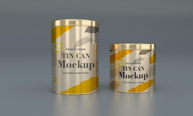 Mockup di imballaggio in latta per alimenti in metallo dorato