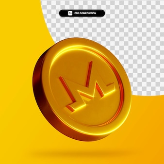 Moneta d'oro monero rendering 3d isolato
