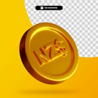 Moneta dorata del dollaro neozelandese 3d rendering isolato