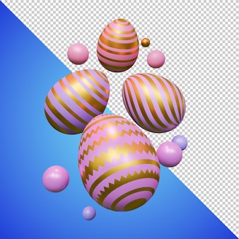 Uova di pasqua rosa dorato rendering 3d