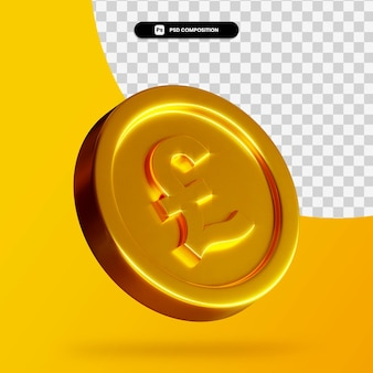 Moneta d'oro della libbra 3d rendering isolato