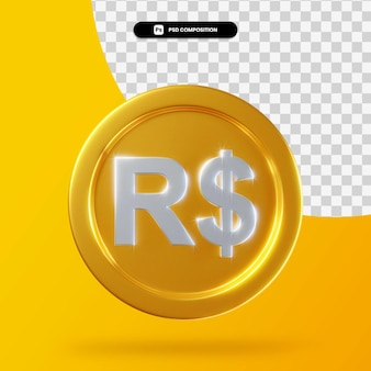 Moneta reale d'oro 3d rendering isolato