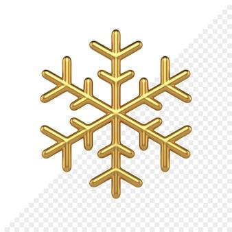 Fiocco di neve realistico dorato 3d render