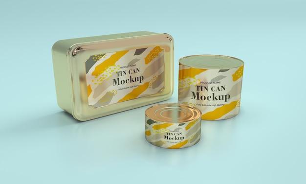 Mockup di imballaggio in latta per alimenti in metallo rotondo e quadrato dorato