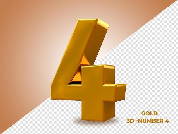 Golden style 3d numero 4