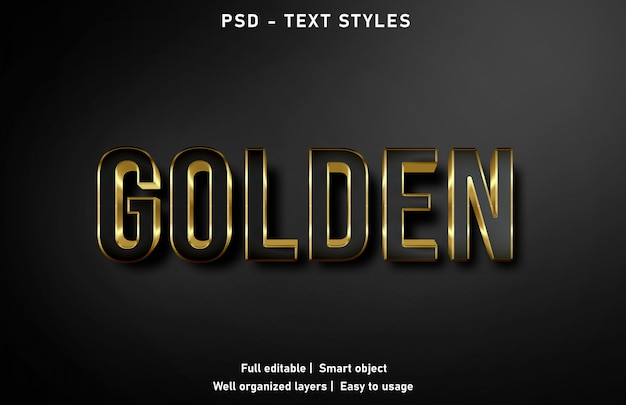 Psd modificabile in stile effetti di testo dorato