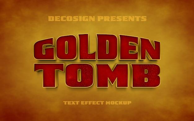 Mockup di effetti di testo psd golden tomb
