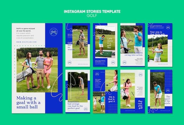 Modello di storie di instagram di concetto di golf