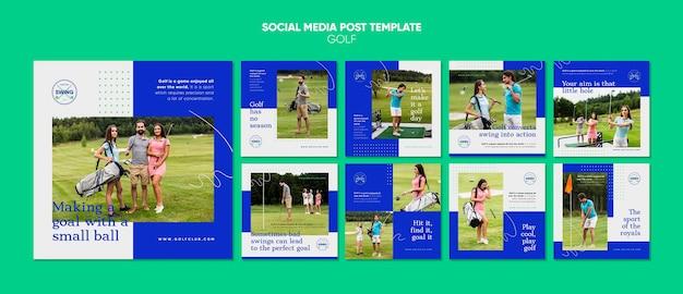 Modello di post sui social media di concetto di golf