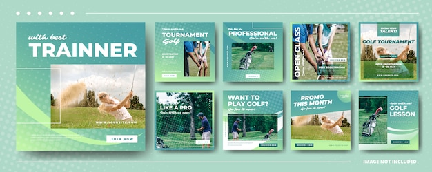 Progettazione sociale dei modelli della posta di instagram dell'insegna di media di golf