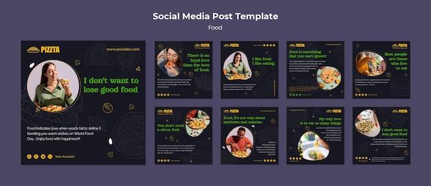 Pacchetto di post sui social media del buon cibo