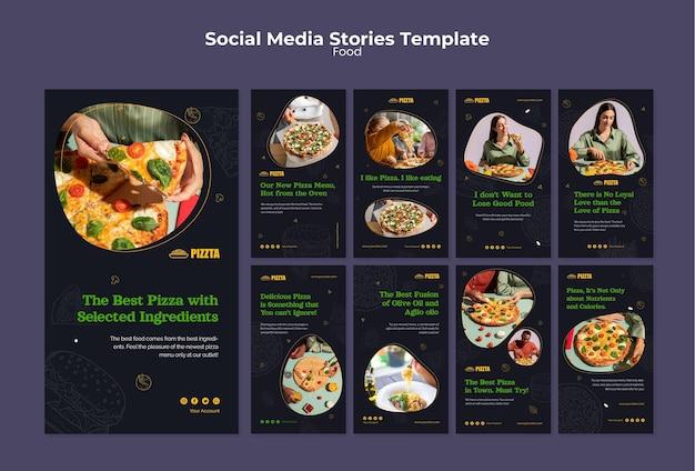 Pacchetto di storie sui social media del buon cibo