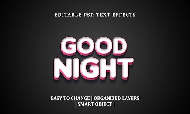 Buona notte effetto testo 3d