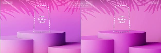 Esposizione del prodotto della composizione elegante del podio del livello circolare del cielo viola estivo sfumato