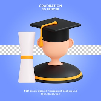 Graduation 3d render illustrazione isolato psd premium