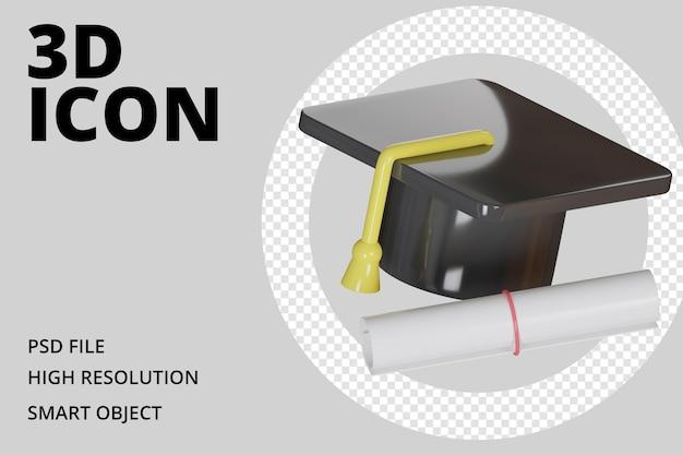 Cappello di laurea con icona 3d certificato