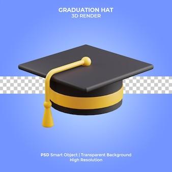 Cappello di laurea 3d rende l'illustrazione isolata premium psd