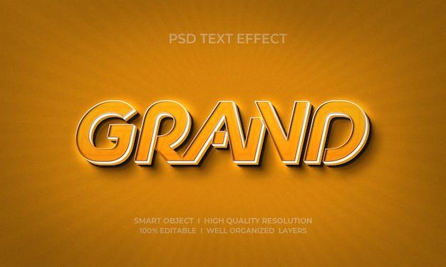 Grande modello di effetto testo in stile 3d moderno