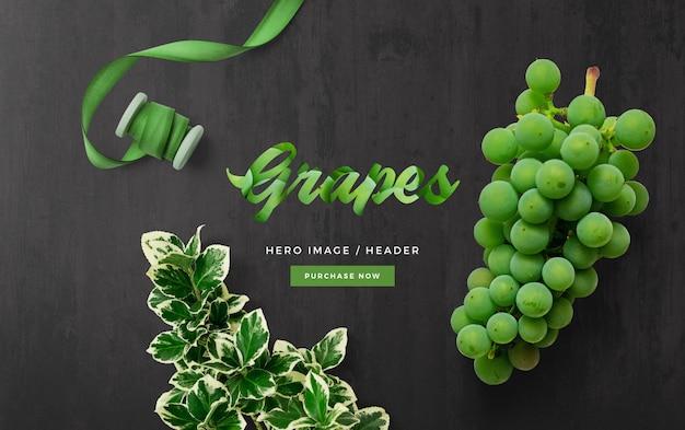 Scena personalizzata dell'intestazione dell'eroe dell'uva
